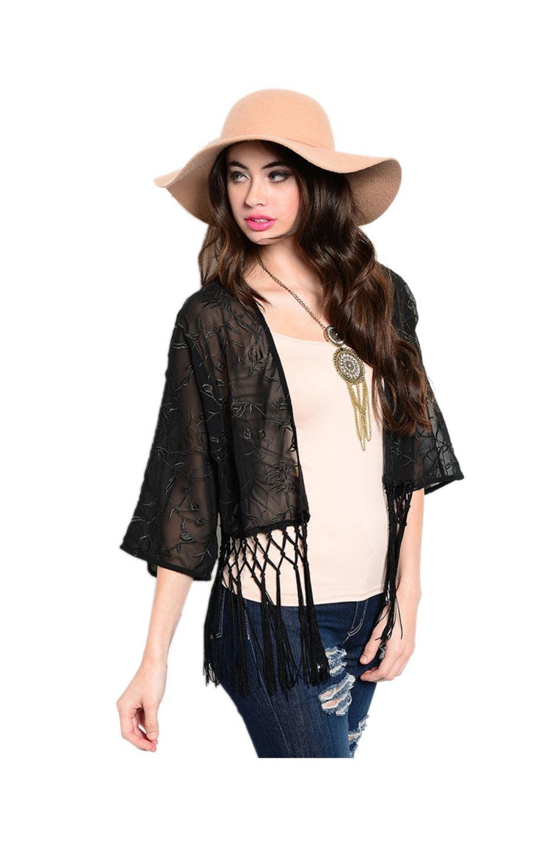 3/4 Sleeve Sheer Embroidered Kimono Cardigan | Cute Kimono ...