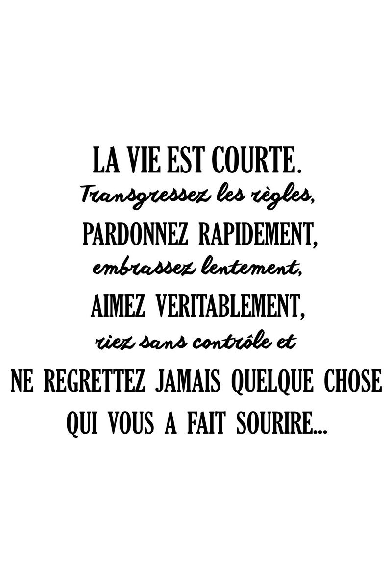 La Vie Est Courte Citation : courte, citation, Vente, AMBIANCE, STICKER, 23259, Lettrage, Citations, Français, Sticker, Courte, Mots,, Citation,, Sympas