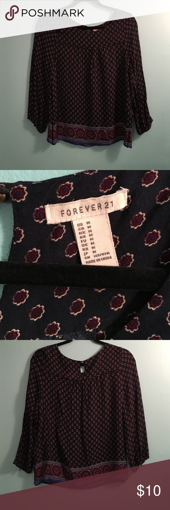 Forever21 navy top! Rarely worn top! From forever21. Navy with red and white pattern design! Forever 21 Tops Blouses
