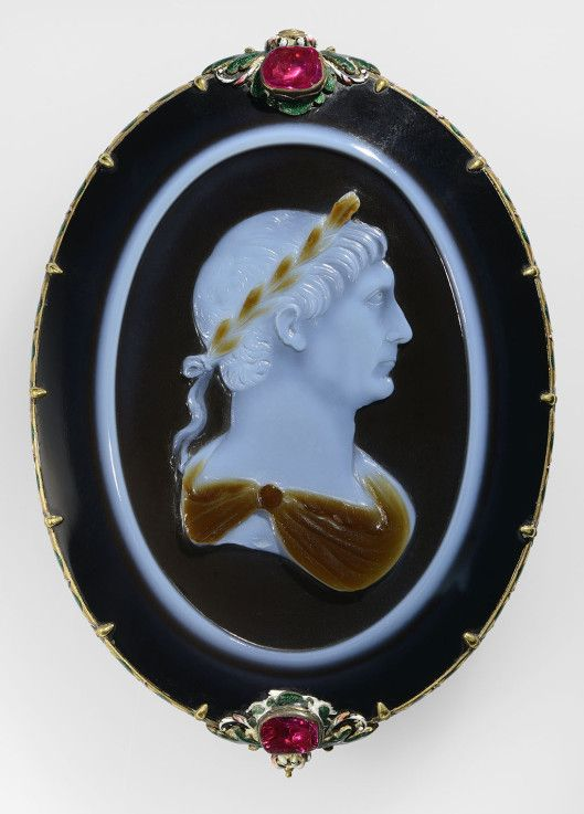Berthouville Treasure Cameo of Emperor Trajan. Roman, about A.D. 100. Sardonyx set in a seventeenth-century gold, enamel, and ruby mount H: 8.8 cm; L: 6.3 cm. Bibliothèque nationale de France, Département des monnaies, médailles et antiques, Paris. VEX.2014.1.103