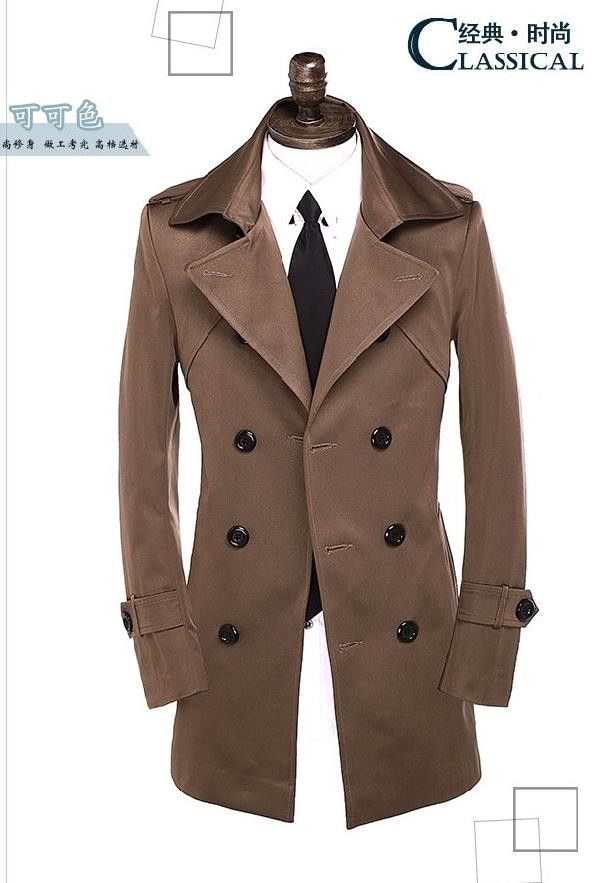 cec381cfd00 Grey red beige brown spring autumn long sleeve trench coat men slim fit mens  coats overcoat black england plus size S - 9XL