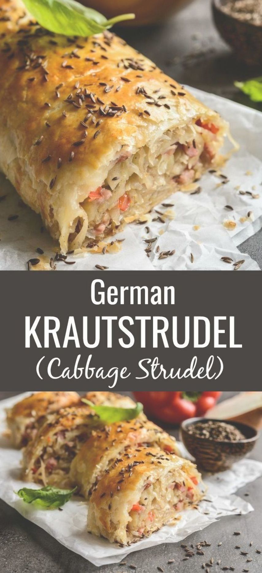 German Krautstrudel is a delightfully easy savory cabbage roll perfect for the season With soft sauteed strands of cabbage the smoky flavor of baconand savory crunc...