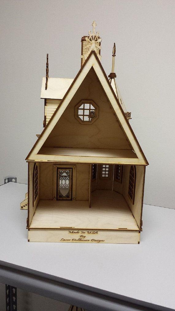 LASER CUT Jasmine Gothic Victorian Cottage Dollhouse 1:24 half inch ...