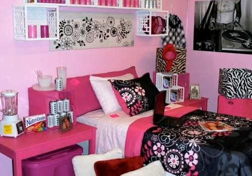 college dorm room ideas pink black and blue | 30 Staggering Dorm ...