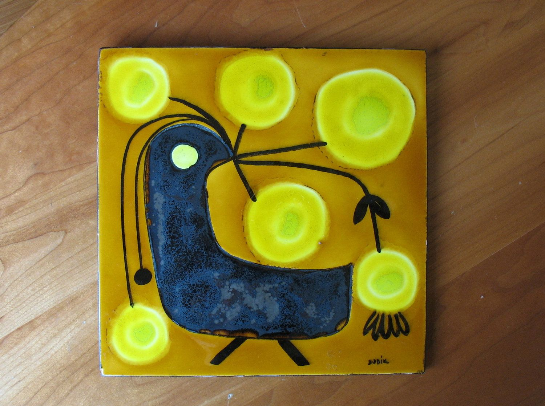 Mid Century Modern Painted Ceramic Tile Wall Hanging Bird ...