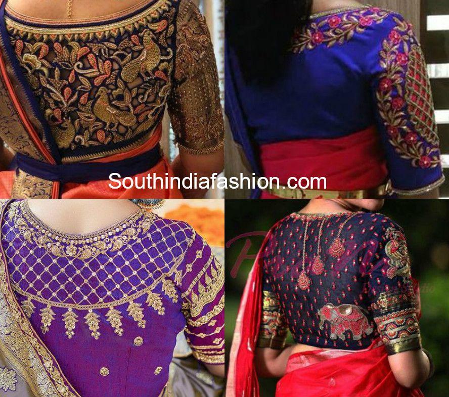 High Neck Maggam Work Blouse Designs For Pattu Sarees Blouse