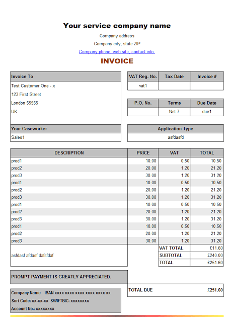 Free Invoice Template For Services Rendered  Download Ms Excel