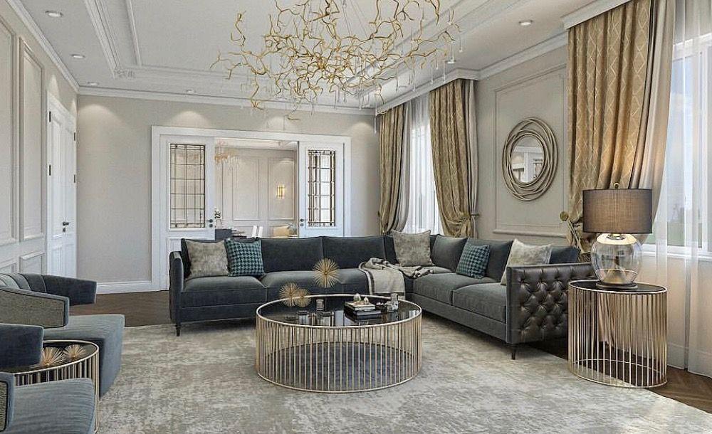 Elegant Luxury Living Room Decor With Grey Tufted Sectional Sofa Luxury Living Room Decor Elegant Living Room Decor Luxury Living Room