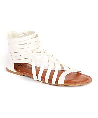 e41d6d613b0 Chatties Womens Gladiator Sandals with Zip Back and Comfort Soles White  Large     Want to know more