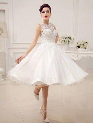 Promocja Suknia ślubna Retro Krótka Cywilny Piękna Wedding Dress
