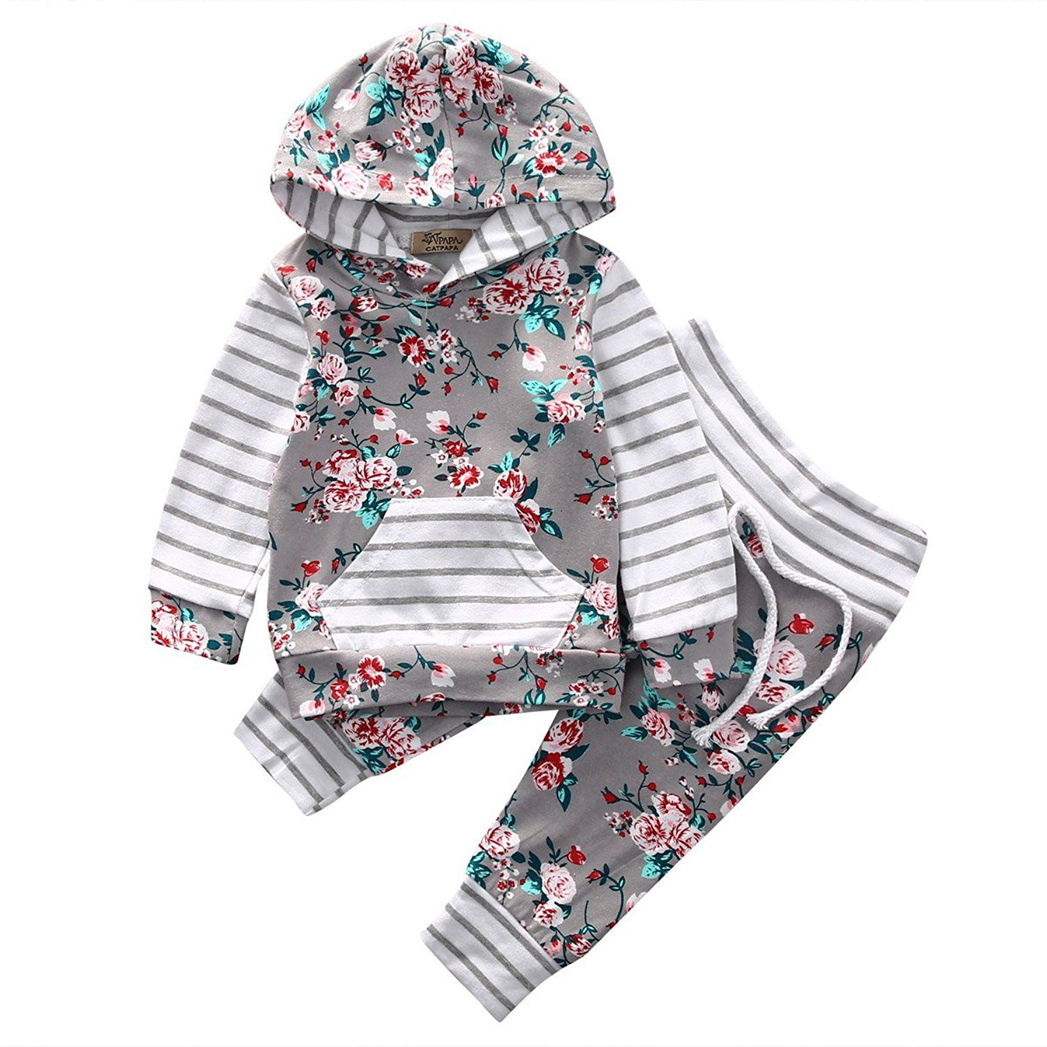 0df5c1d5f Amazon.com  Baby Girl 2pcs Set Outfit Flower Print Hoodies with ...