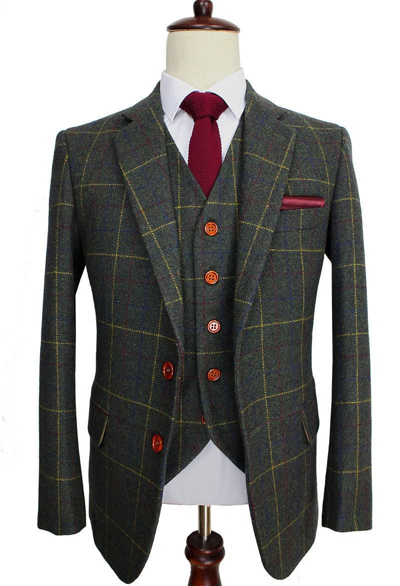 dc1e597cabf Wool Green Ckeck Tweed Custom Made Men suit Blazers Retro tailor made slim  fit wedding suits for men 3 Piece