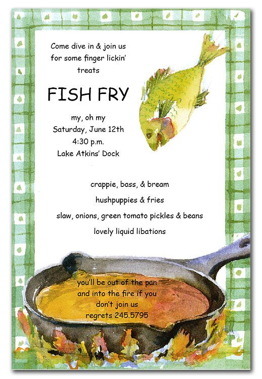 Frying Fish Fish Fry And Party Invitations