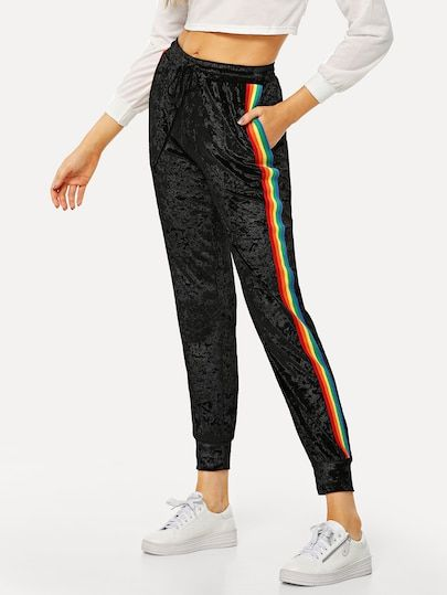 Photo of Shop Striped Tape Side Velvet Pants online. SheIn offers Striped Tape Side Velve…