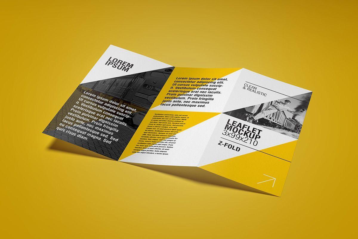 The Enchanting Free Flyer Mockup Z Fold Leaflet Design Graphic Design For Z Fold Brochure Template Indesign Images Leaflet Design Flyer Mockup Leaflet