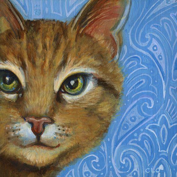 cat art paisley cat girl s room cat art boho art art