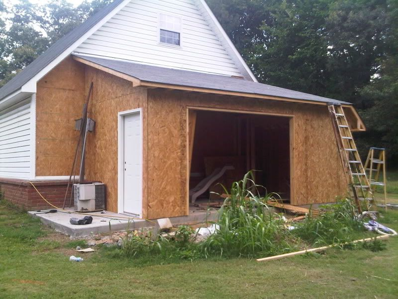 My lean to addition finally pic heavy the garage for Lean to addition to garage