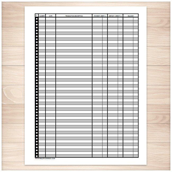 financial transaction register full page printable snowball