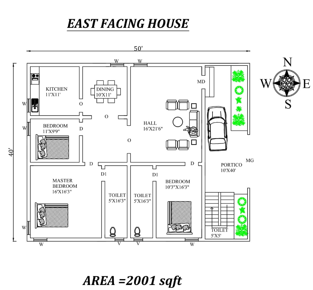 50 X40 Fully Furnished Wonderful 3bhk East Facing House Plan As Per Vastu Shastra Autocad Dwg File Details Cadb How To Plan House Plans South Facing House