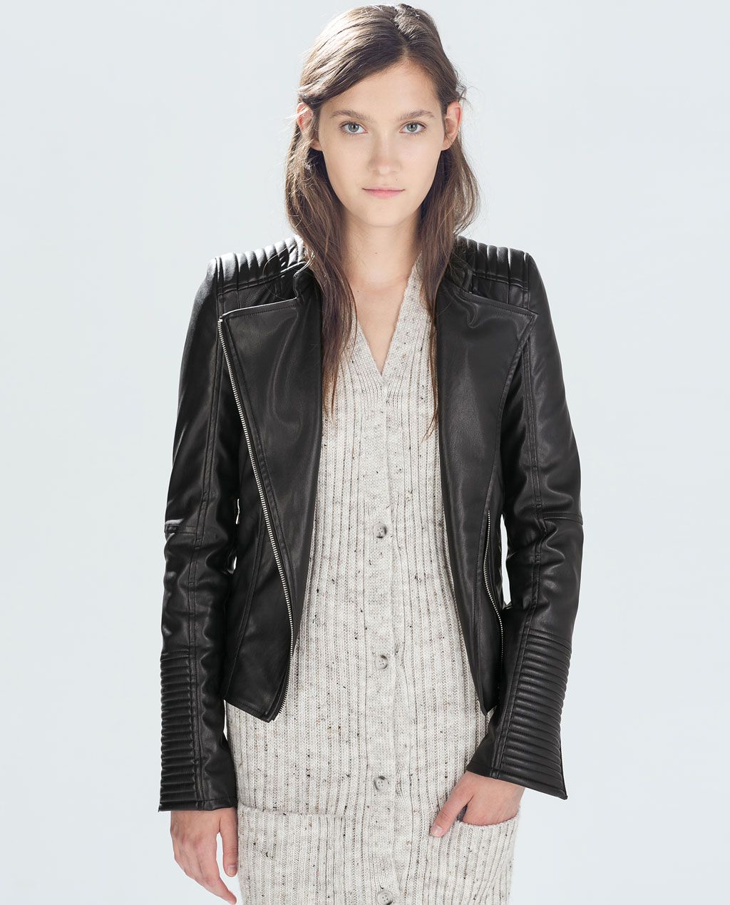 BIKER JACKET from Zara Faux leather jackets, Black faux