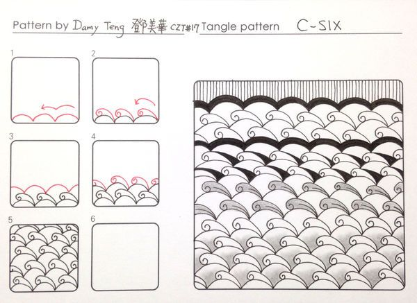 """C-Six"" tangle pattern by Damy"