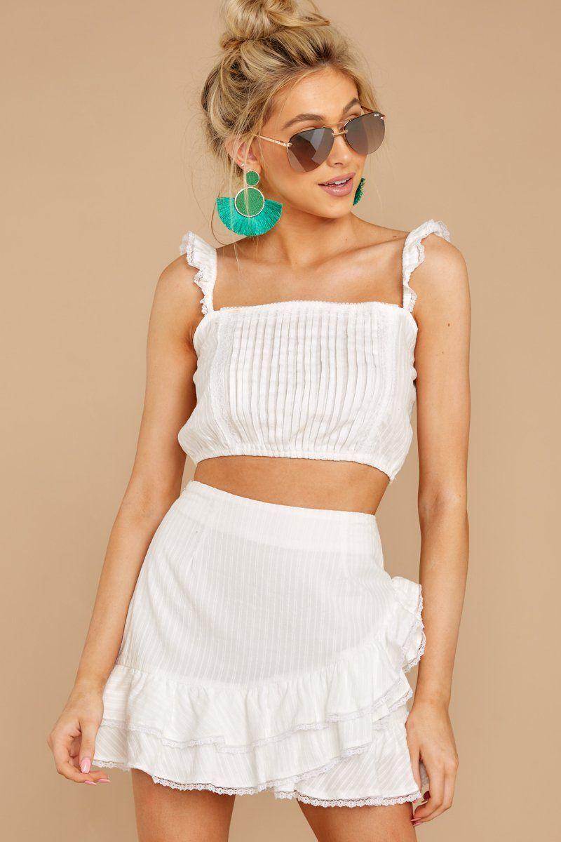 Cute White Ruffled Two Piece Set Two Piece Skirt Set Set