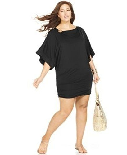 Be the Belle of the Beach in #Michael Kors logo black tunic-style cover-up.