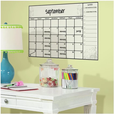 RoomMates Scroll Dry Erase Calendar Peel and Stick Wall