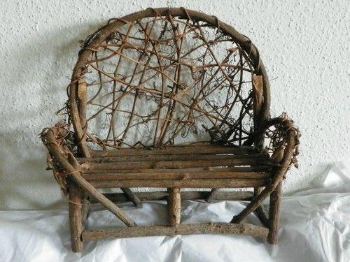 Miniature Doll Twig Outdoor Furniture Handmade Bench | Pinterest ...