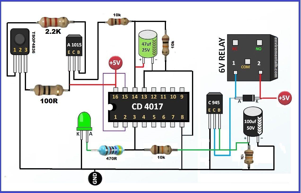 Remote Control Circuit With Ir Circuit Diagram Remote Control Remote Control Light