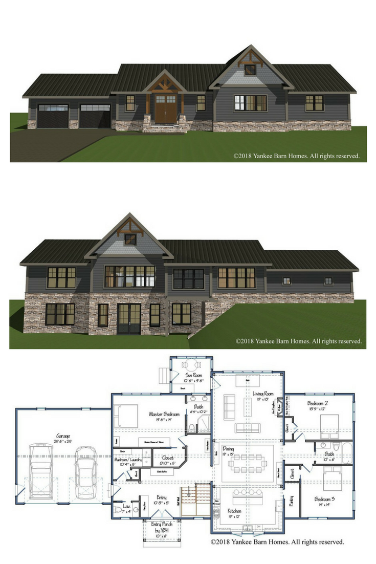 Single Level Partial Post And Beam Homes The Rosewood Barn Style House Plans Barn Homes Floor Plans Barn Style House