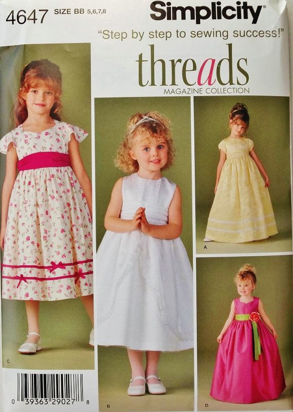 SEWING PATTERN WEDDING~SPECIAL OCCASION 3~6 OR 7~14 MAKE GIRLS PARTY DRESSES