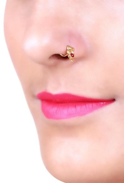 INR 750 Gold plated nosepin with red stone fashion handcrafted