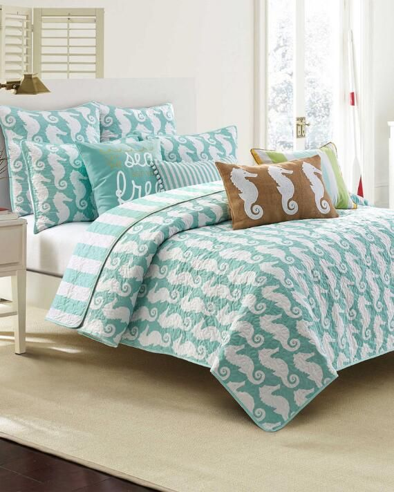 Seahorse Coastal Luxury Quilt Collection-Coastal-Quilts-Bedding ... : coastal quilts bedding - Adamdwight.com