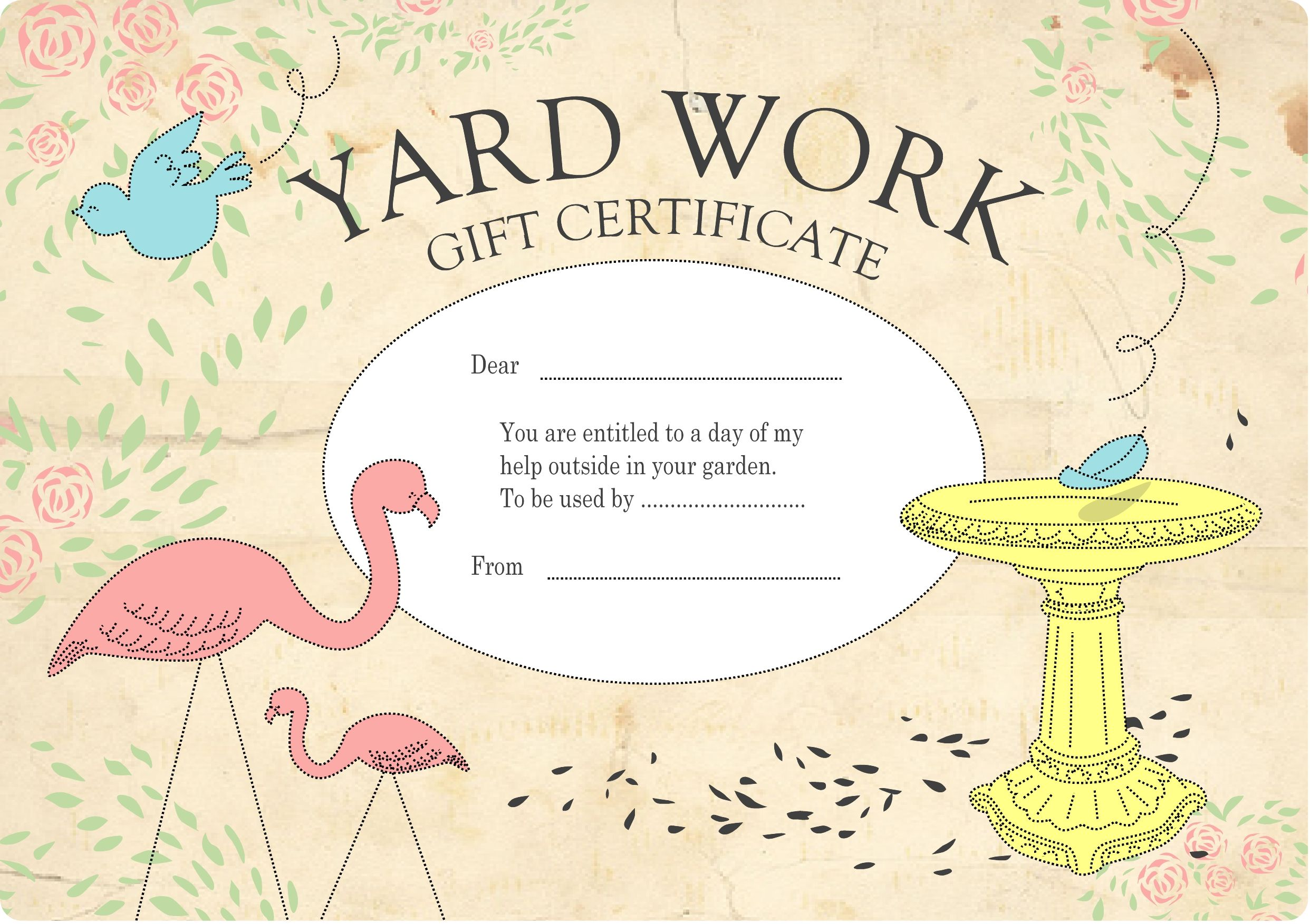 Homemade gift certificate for helping out in the garden gardening homemade gift certificate for helping out in the garden negle Image collections