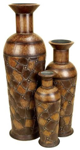 Set Of 3 Tall Brown Metal Standing Floor Vase African Jungle Safari