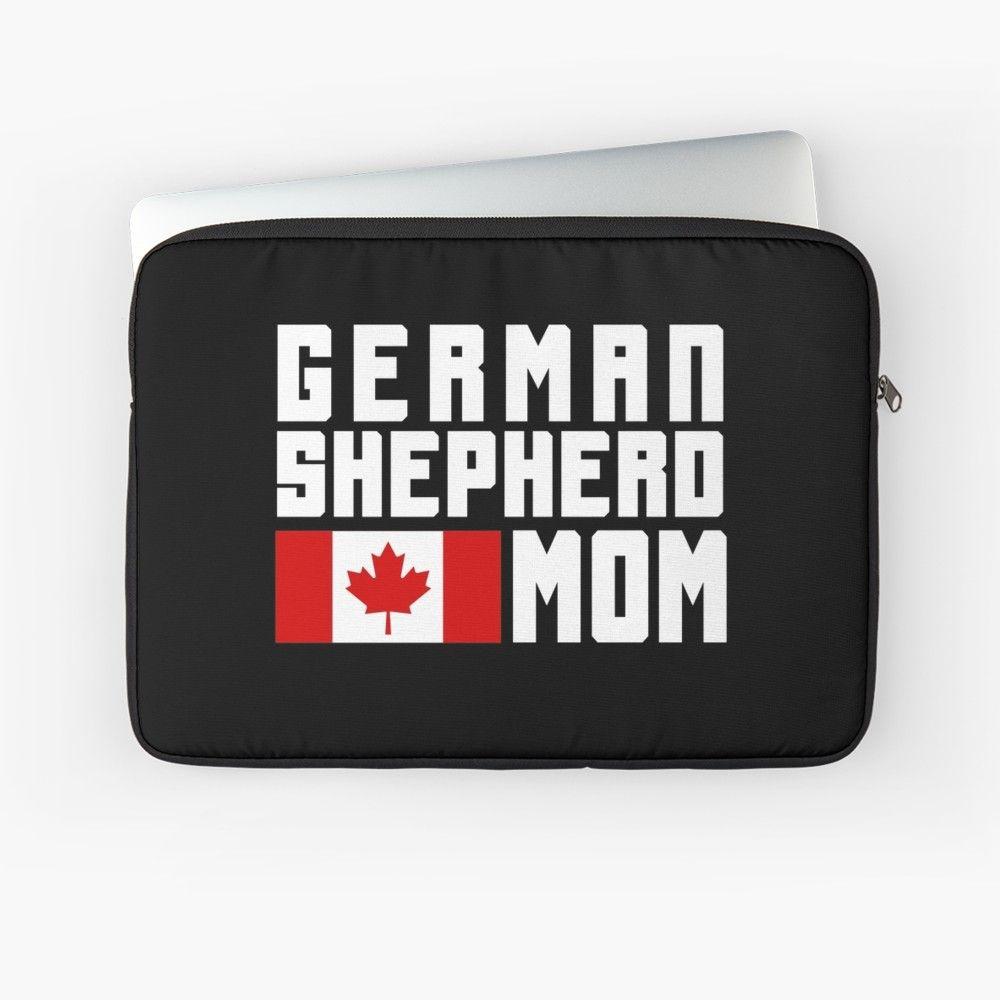 German shepherd mom canadian flag laptop sleeve by