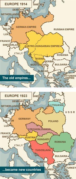 mapa evrope 1914 Mapa Evrope 1914 i 1923 | Historia | Pinterest | Empire, History  mapa evrope 1914