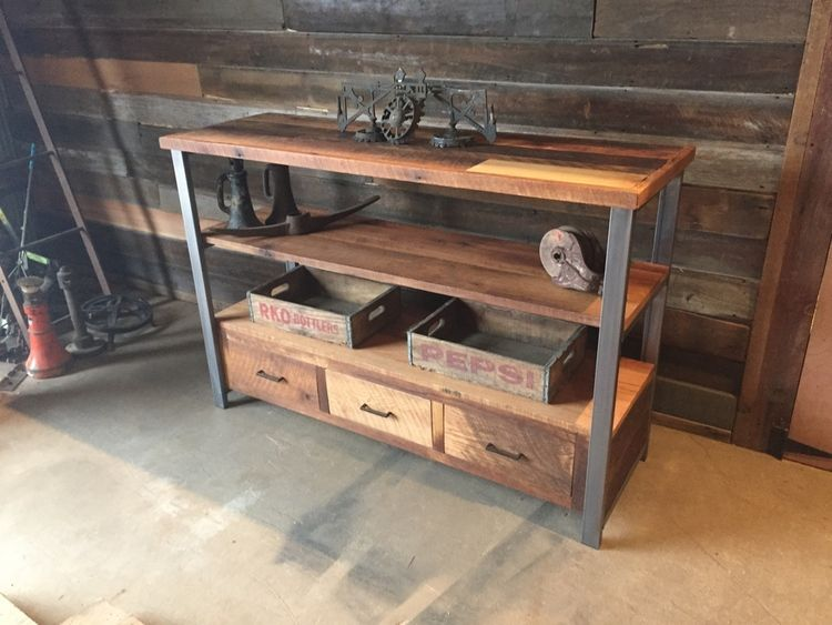 Reclaimed Wood Media Console Shelving Unit Reclaimed wood media