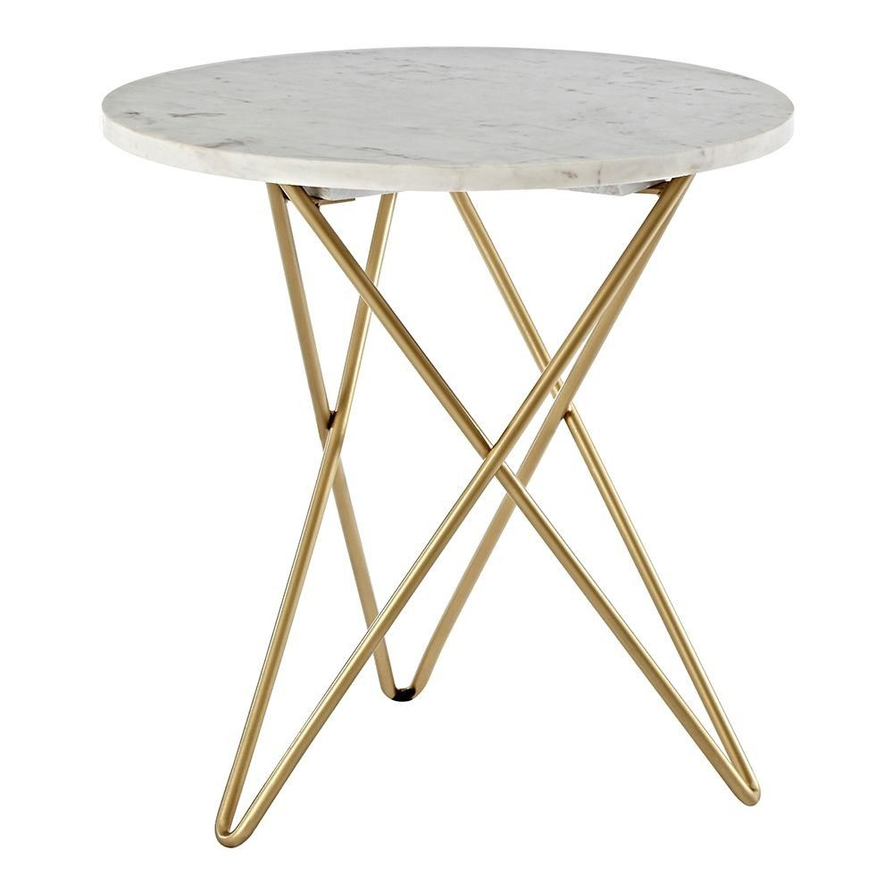 Houseology Collection Nirav Geometric Side Table White Marble Gold Finish Marble Top Side Table Round Side Table Side Table