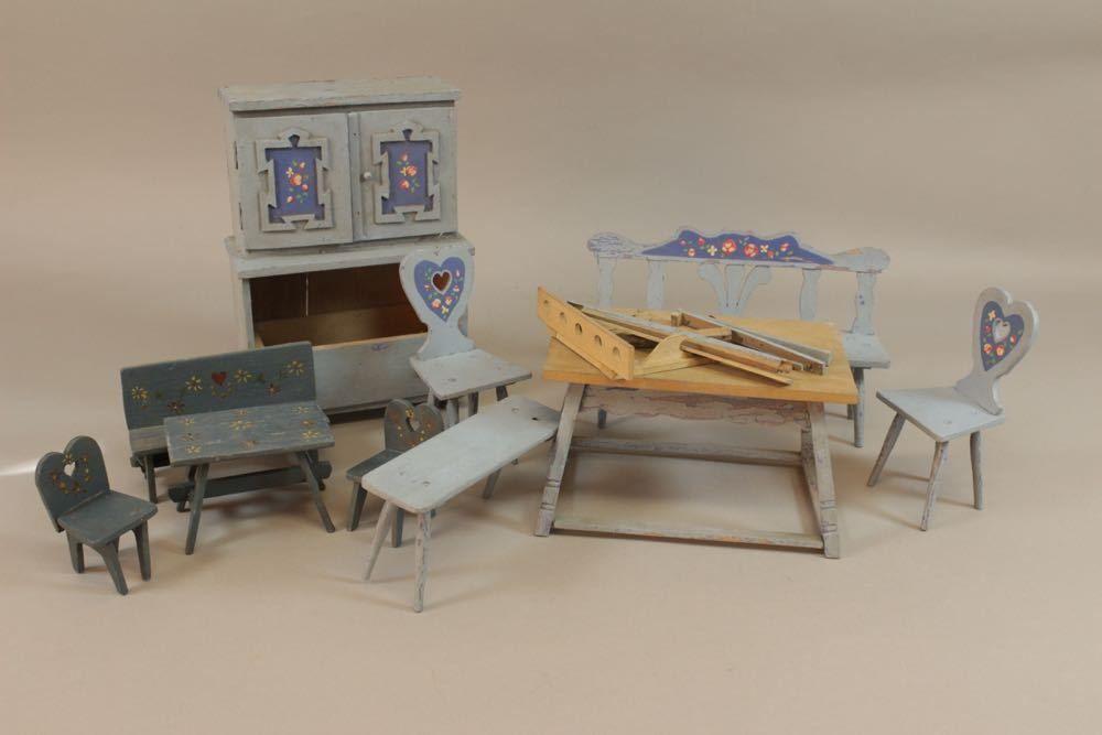 f4b25 konvolut alte puppenstuben m bel bauernstube um 1920 40 ebay nostalgie. Black Bedroom Furniture Sets. Home Design Ideas
