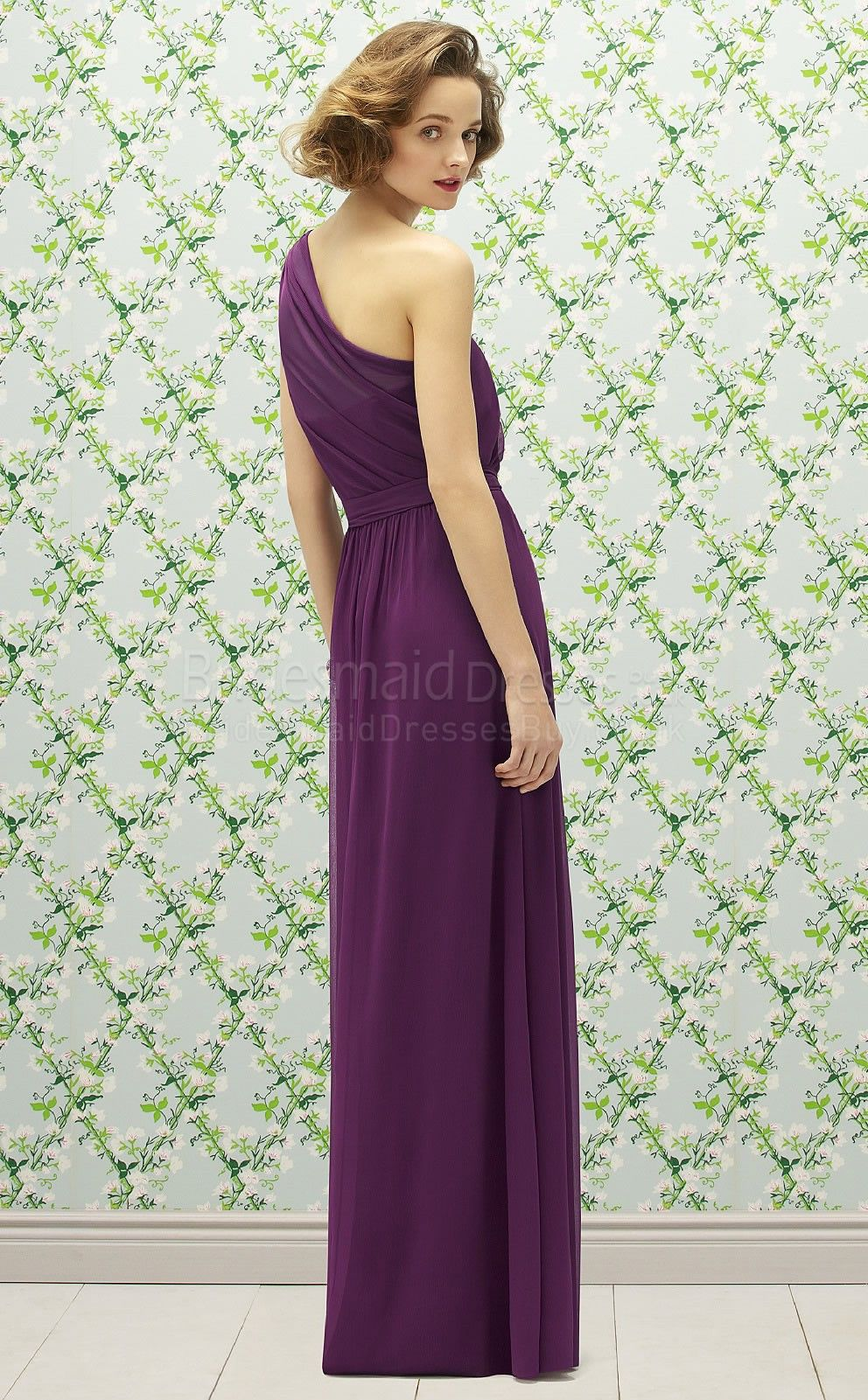 Aline sleeveless one shoulder grape chiffon floorlength purple