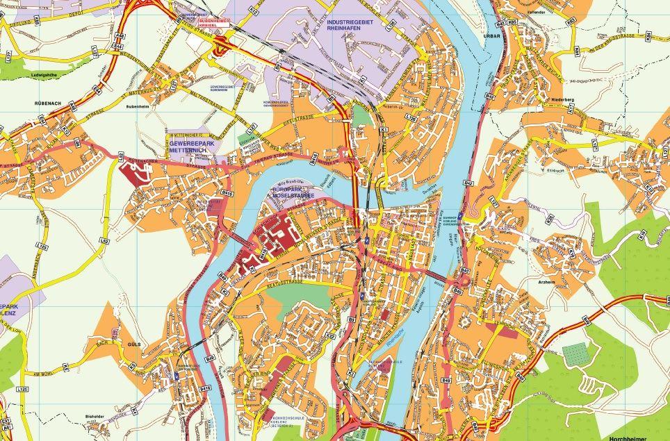 Koblenz stadtplan Koblenz Pinterest City
