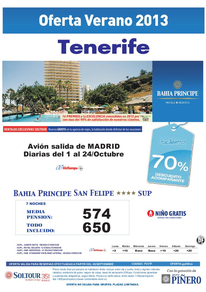 TENERIFE, 70% Bahía Príncipe San Felipe, salidas diarias del 1 al 24 Octubre desde Madrid - http://zocotours.com/tenerife-70-bahia-principe-san-felipe-salidas-diarias-del-1-al-24-octubre-desde-madrid/