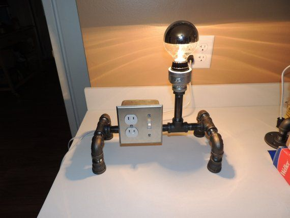 Black Pipe Table Lamp With Light Switch And Two Plugs In 2019