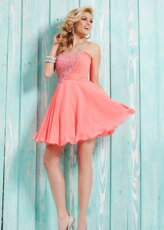 Coral Short Strapless Beaded Knee Length Chiffon Cocktail Dress ...