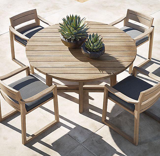 sebastian teak round dining table in 2020  round outdoor