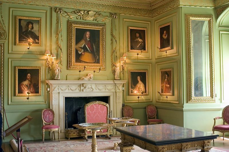 """""""The Green Drawing Room"""" of Warwick Castle in Warwickshire, West Midlands, England. (photo by Richard A. Higgins, © 2007), dollhouse color inspiration"""