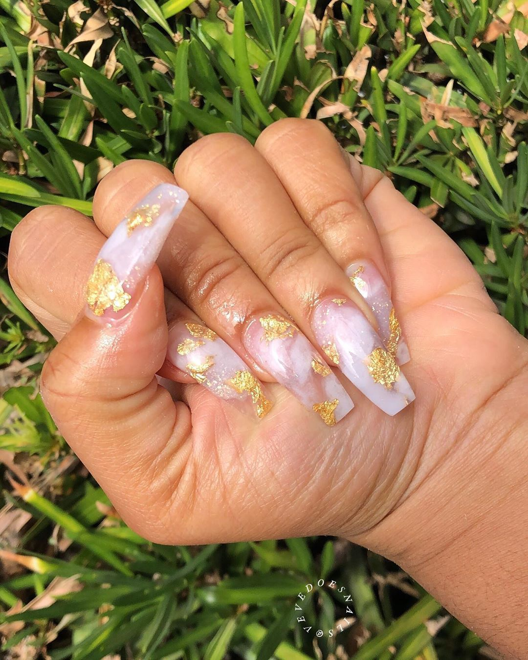 25 ACRYLIC COFFIN NAIL STYLES WITH GOLD FLAKE YOU MUST LOVE