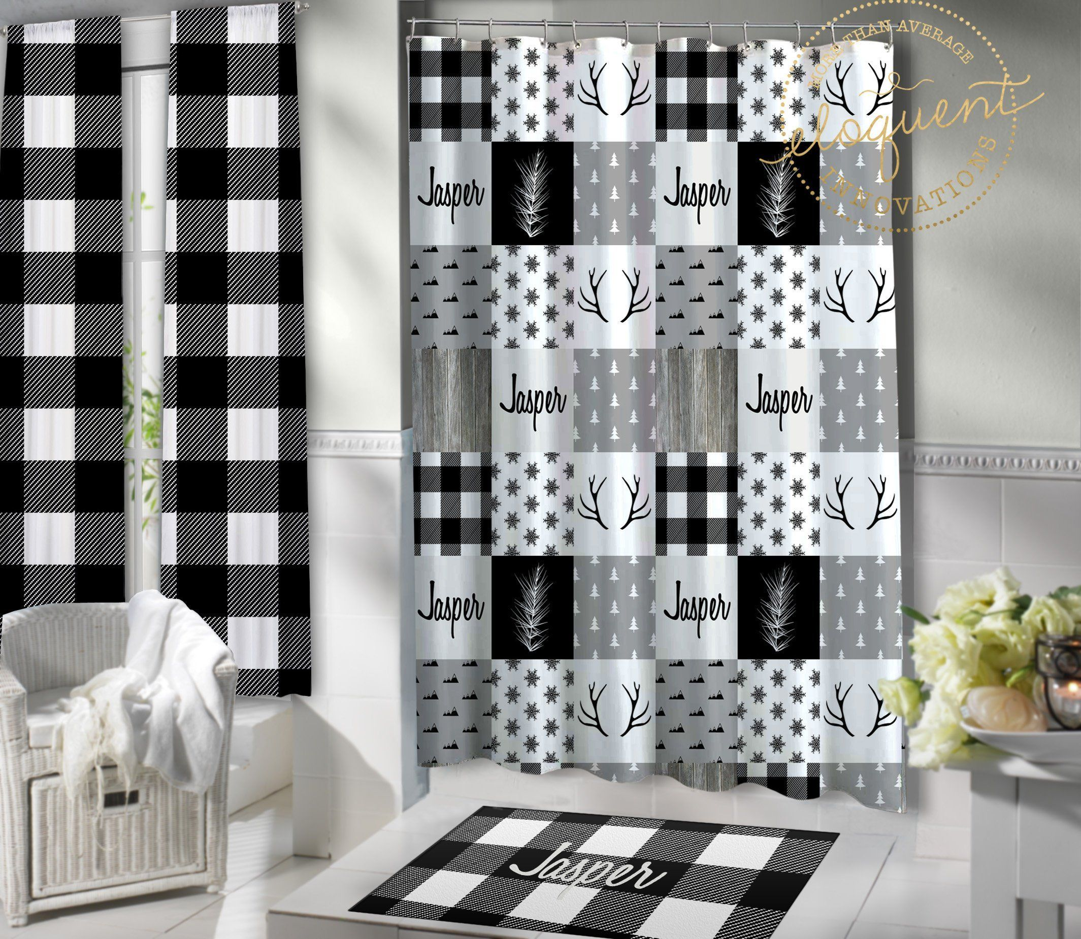 Lumberjack Shower Curtain Kids Black And White Plaid Themed Personalized With Name Woodland Deer Rug Fabric Extra Long Christmas 413 Fabric Shower Curtains Vinyl Shower Curtains Christmas Shower Curtains